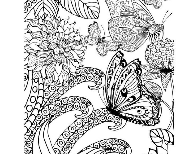 Featured listing image: Printable Butterfly Adult Coloring Book PDF  - Stress Relief Printable Butterfly Adult Coloring Book - 39 Pages