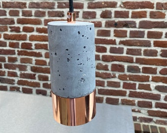B-quality: Single Concrete & Copper Lamp with Textile Cable