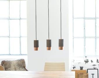Concrete & Copper Pendant Lights, Set of 3 Lamps