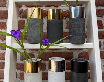 Second Choice: Concrete Vases with Brass or Aluminum Ring and Removable Glass