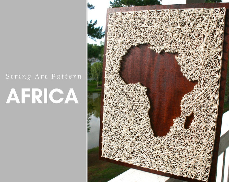 Africa Map String Art Pattern | String Art Template | DIY 5th Anniversary  Gift for Him