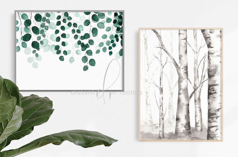Black and White Prints Monochrome Print Birch Tree Painting Instant Download Art Modern Farmhouse Watercolor Trees Printable Art