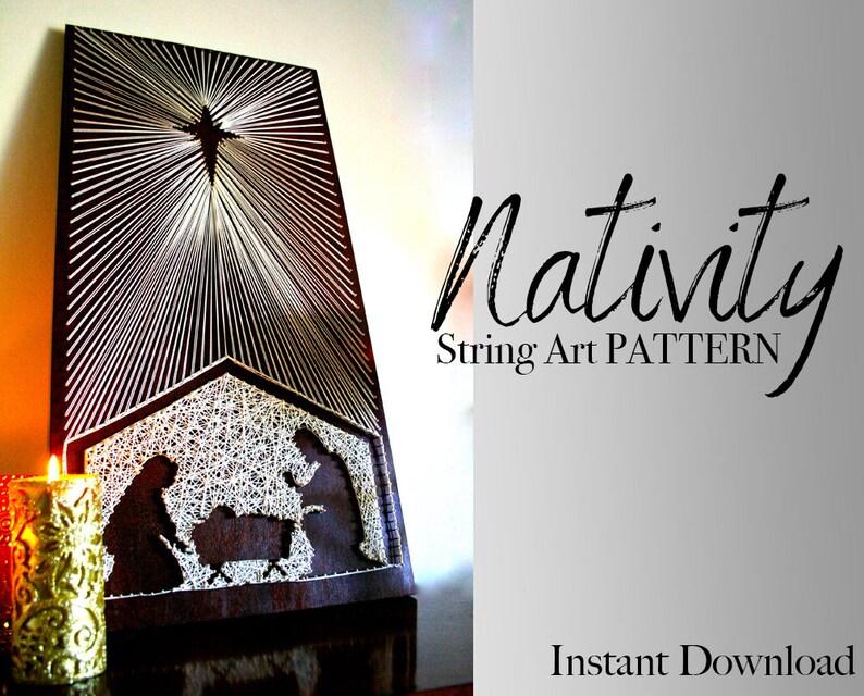 eae0b6da6bba Nativity Scene String Art Patterns Manger Scene String Art