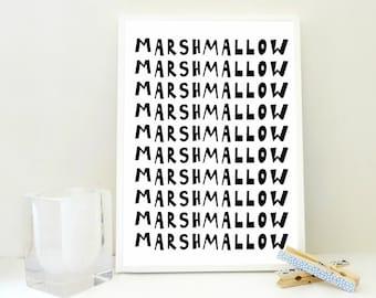 Marshmallow Printable Print, Kitchen Wall Art