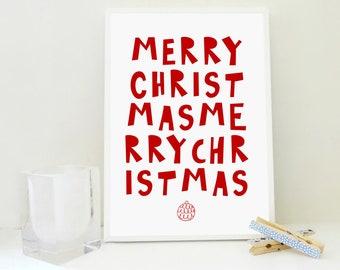 Merry Christmas in Red Printable, Christmas Art Print