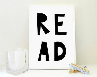 Read Printable, Read Sign, Read Print, Kids Room Wall Art