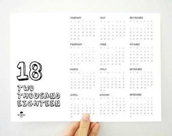 18 Yearly Calendar, Printable Calendar, 2018 Calendar, 2018 Yearly Calendar, Kids Calendar, Kids Room Wall Art, PDF Calendar, Gift for Kids