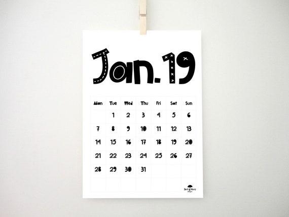 Scandi Scandi Printable Calendar 2019 Calendar Monthly Etsy