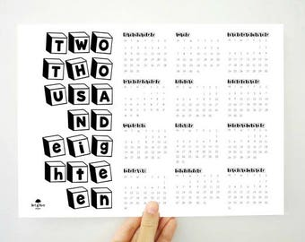 18 Boxes Yearly Calendar, 2018 Printable Calendar, 2018 Yearly Calendar, Kids Calendar, School Planner, Gift for Kids, Planner, PDF Calendar