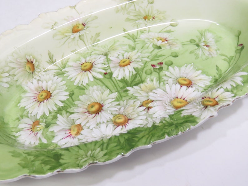 Vintage Porcelain Tray Dish Bowl Hand Painted Daisies Daisy Green 13.75