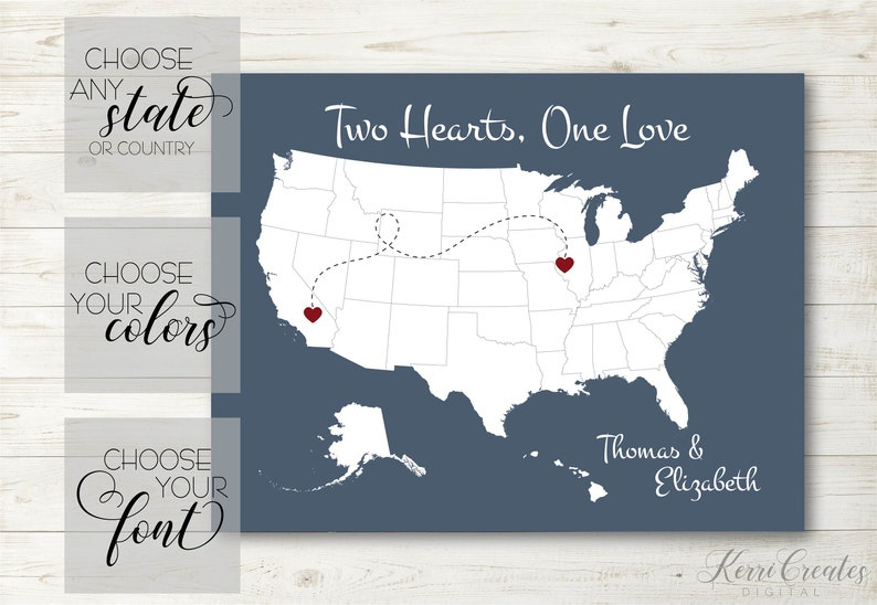 State Map Art Two Hearts One Love USA Map Art PRINTABLE. | Etsy