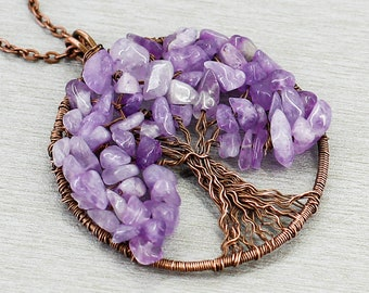Tree of life pendant Amethyst jewelry Reiki healing crystal necklace Mother in law gift for anniversary gift for wife gift for teacher gift