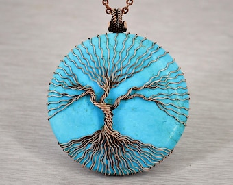 tree of life necklace turquoise necklace turquoise jewelry statement necklace christmas gifts for mom gift for grandma gift for sister gifts
