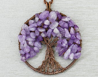 tree of life pendant necklace raw amethyst necklace christmas gifts for mom birthday gift for sister gift for grandma gift for wife gift her