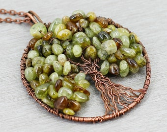 Tree Of Life Pendant Necklace Green Garnet Jewelry Mothers Day Gift For Mom Gifts Grandma Wife Girlfriend Her