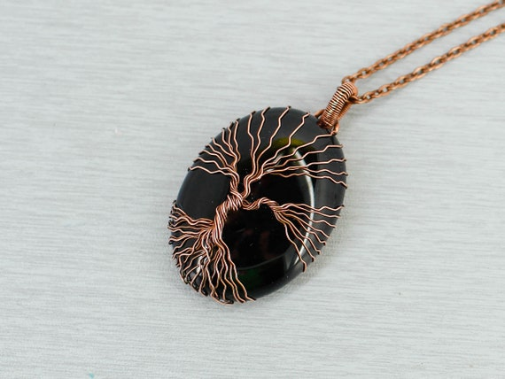 Black Onyx Necklace Tree-Of-Life Pendant Necklace Wire Wrapped Necklace Protection Stones Necklace Gift For Men Gift For Dad Gift For Friend