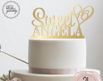 Calligraphy Personalized Sweet 16 Cake Topper Birthday Cake Topper For Sweet 16 Customized Cake Topper for Quinceanera Birthday Party D#8