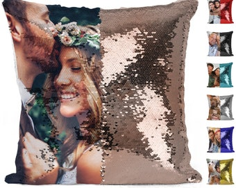 Custom Photo Sequin Pillow Case Mermaid Pillow Case Magic Reversible Throw Decorative Pillow Cover Home Decor Gift for her Christmas Gifts