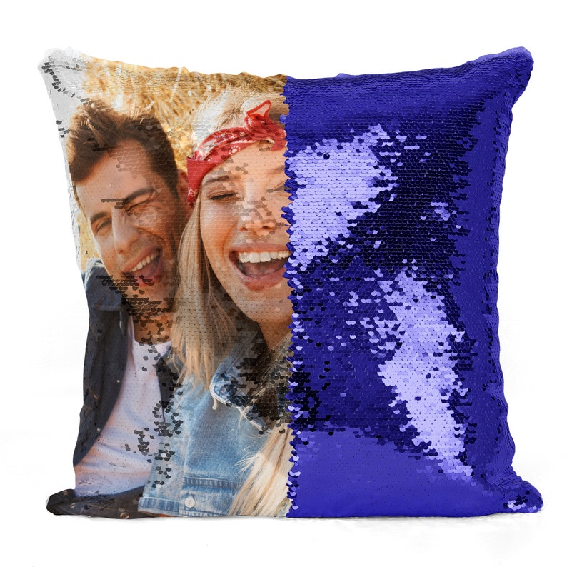 Personalized Sequin Pillow Custom Photo Sequin Pillow Royal Blue (pacificcustoms)