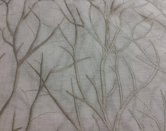 """2.75 Yards x 54"""" Embroidered Tree Branch Design Home Decorator Fabric"""