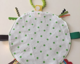 Green minky dot lovey security blanket with toy link