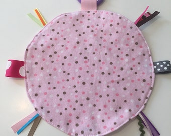 Pink & brown dot minky lovey security blanket with toy link