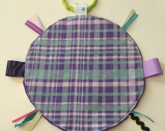 Purple plaid minky dot lovey security blanket with toy link