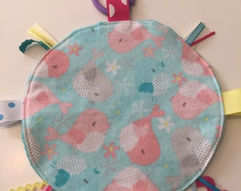 Pink birds minky dot lovey security blanket with toy link