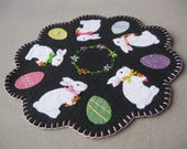 PDF Pattern Bunny and Egg Penny Rug, Instant Download, Spring Easter Decoration. Wool, Wool Felt, Applique.