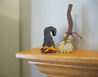 Witch Hat and Broom Set wood block Decorations. Spooky for Halloween. Sets great on a table, desk or a window. FREE SHIPPING