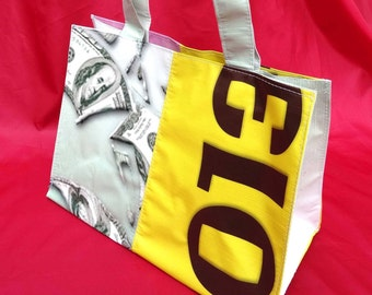 Eco friendly up-cycled banner shopping tote bag, recycled vinyl banner, beach bag, cruelty free