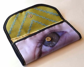 Upcycled clutch purse wallet   recycled banner vinyl   wallet lined with card pockets and coin pouch