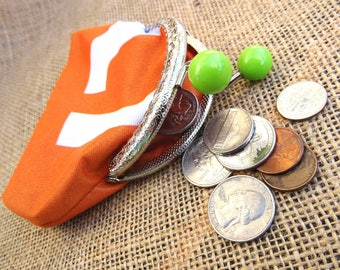 Kiss Lock Coin Purse, Upcycled material, Coin purse with Frame, Orange recycled ad flag, Green buttons with silver frame