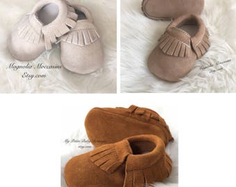 ON SALE!! Genuine Suede Leather Baby Moccasins, Baby Boy Moccasins, 100% Leather Moccasins, Suede Moccasins, Light Brown Moccasins, Camel Mo