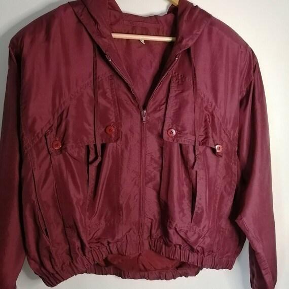 Vintage Red Burgundy 100% Silk Bomber Jacket UK 1… - image 6