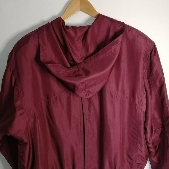 Vintage Red Burgundy 100% Silk Bomber Jacket UK 1… - image 2