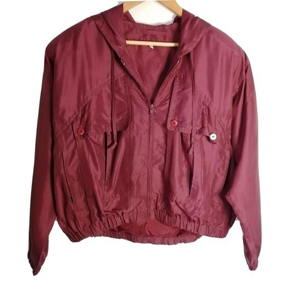 Vintage Red Burgundy 100% Silk Bomber Jacket UK 10