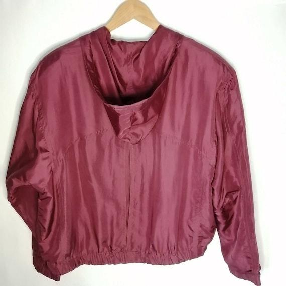 Vintage Red Burgundy 100% Silk Bomber Jacket UK 1… - image 8