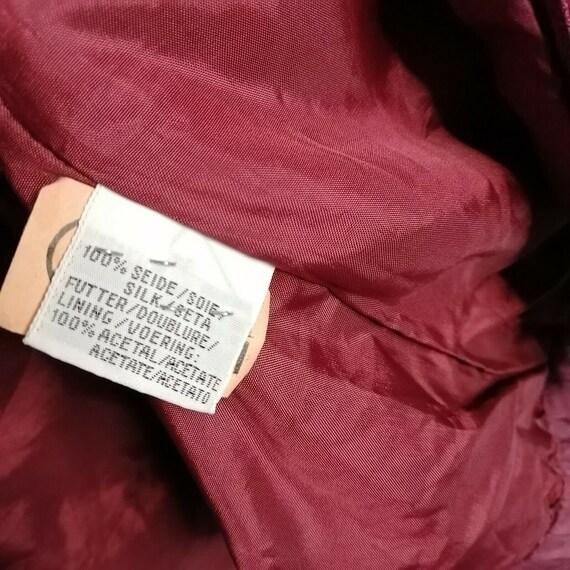 Vintage Red Burgundy 100% Silk Bomber Jacket UK 1… - image 4