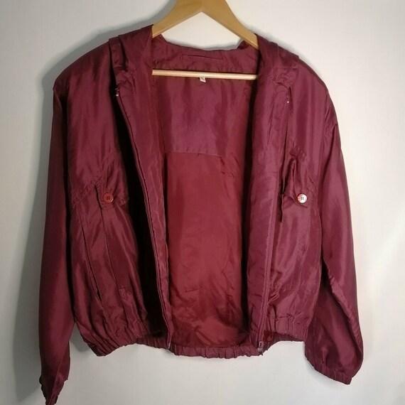 Vintage Red Burgundy 100% Silk Bomber Jacket UK 1… - image 3
