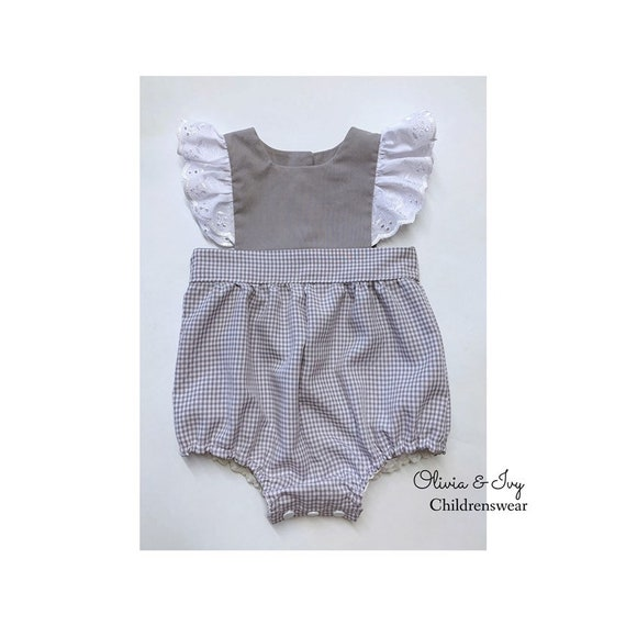 3a5b559ba Babies Grey Gingham Romper Suit Baby Girl Romper Suit Summer | Etsy