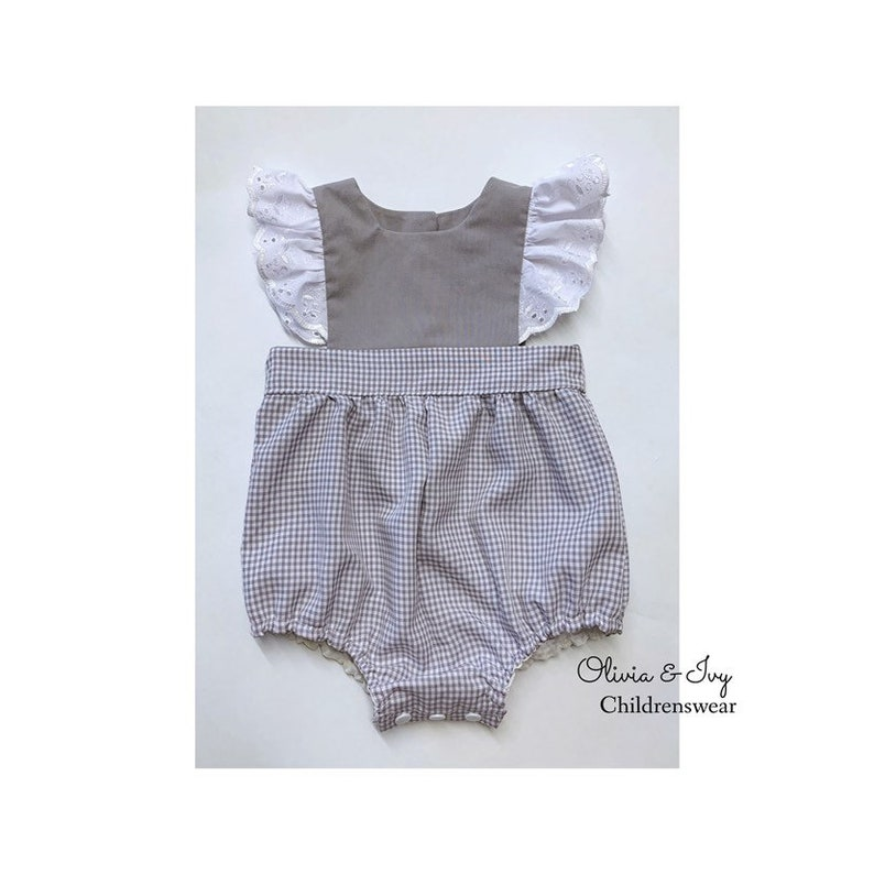 b8eb1bf21a8d Babies Grey Gingham Romper Suit Baby Girl Romper Suit Summer