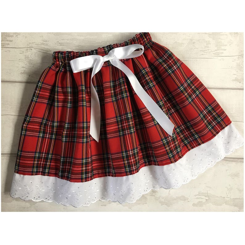 5290ae0c2117df Traditional Red Tartan Girls Skirt White Lace Trim Red Tartan | Etsy