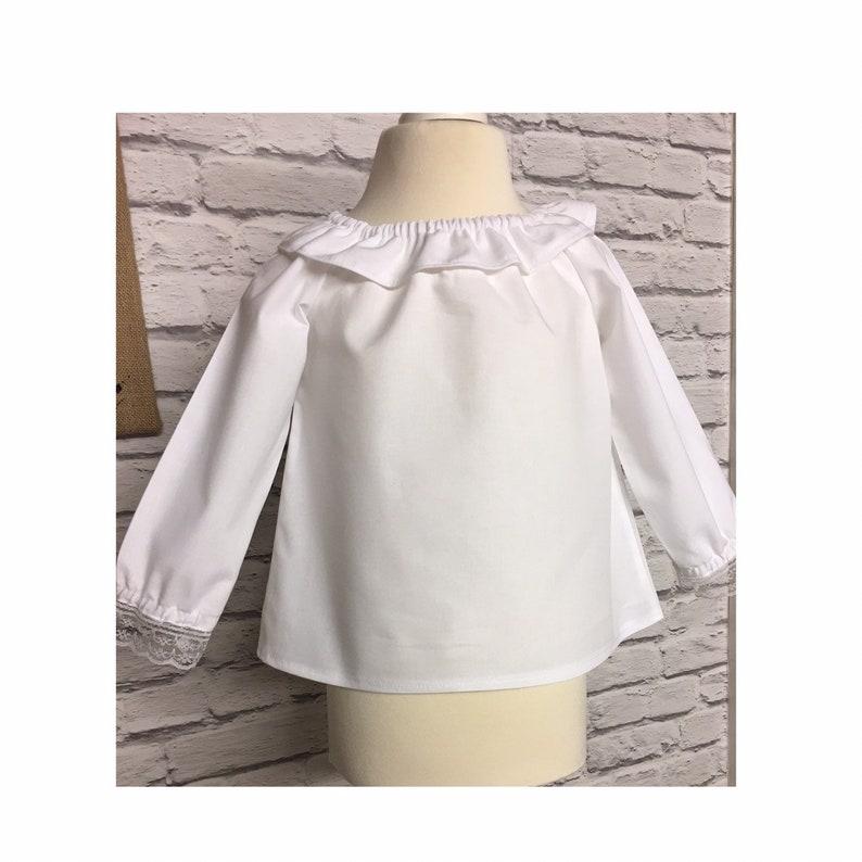 770db2c0e6c0 Girls White Cotton Blouse Babies Ruffle Neck Blouse Toddlers