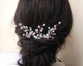 Wedding Hair Pins Set of 3, Bridal Hair Pins, Lillac hair accessories, Crystal hair pins, rhinestone hair pins