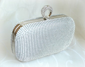 b77814276e8c Bridal Wedding clutch bag Silver Rhinestones Bridal Accessories Great  Gatsby style Diamante bag purse