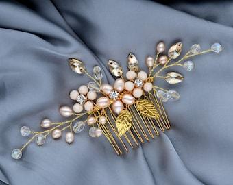 Gold Hair Comb, Wedding hair comb pearl, Bridal hair comb, Golden leaves, hair accessories, crystal hair comb, hair clip