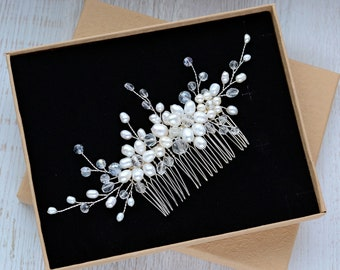 Wedding Hair Comb, Bridal Hair Comb, Pearl Hair Comb, Silver Hair Comb, Hair clip, hair accessories, crystal hair comb