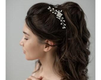 Bridal Hair Pins, Wedding Hair Pins, faux pearls hair accessories, crystal hair jewelry, bridal hair clip, crystal hair pins,
