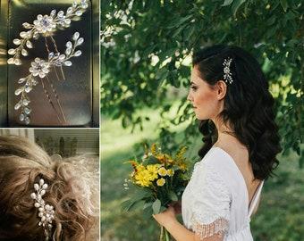 ee15fafd089556 Wedding Hair Pins Crystal Bridal hair pins faux pearls hair accessories  crystal hair jewelry